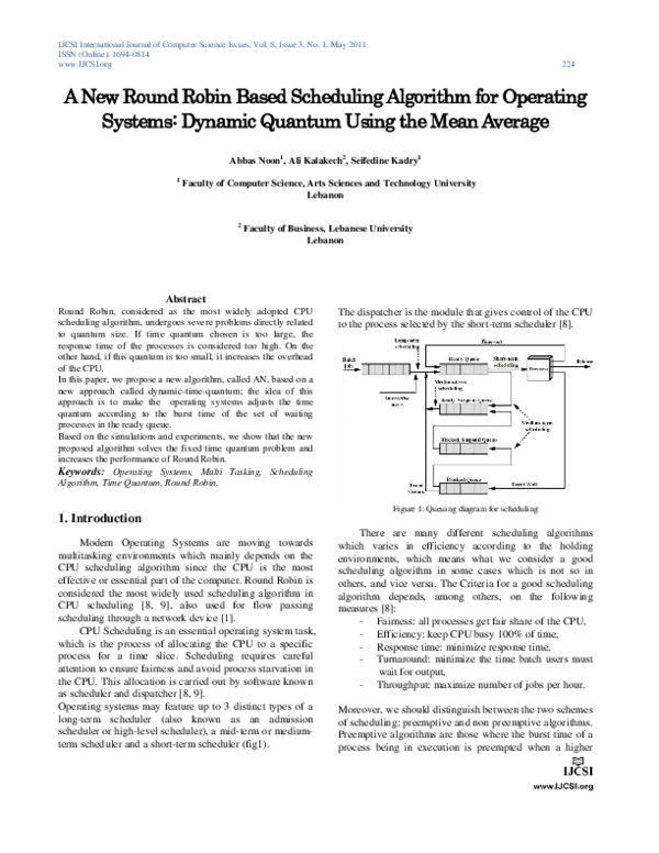 PDF) A New Round Robin Based Scheduling Algorithm for