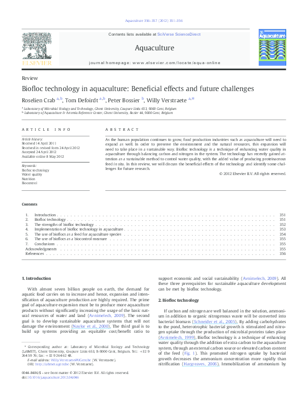 PDF) Biofloc technology in aquaculture: Beneficial effects