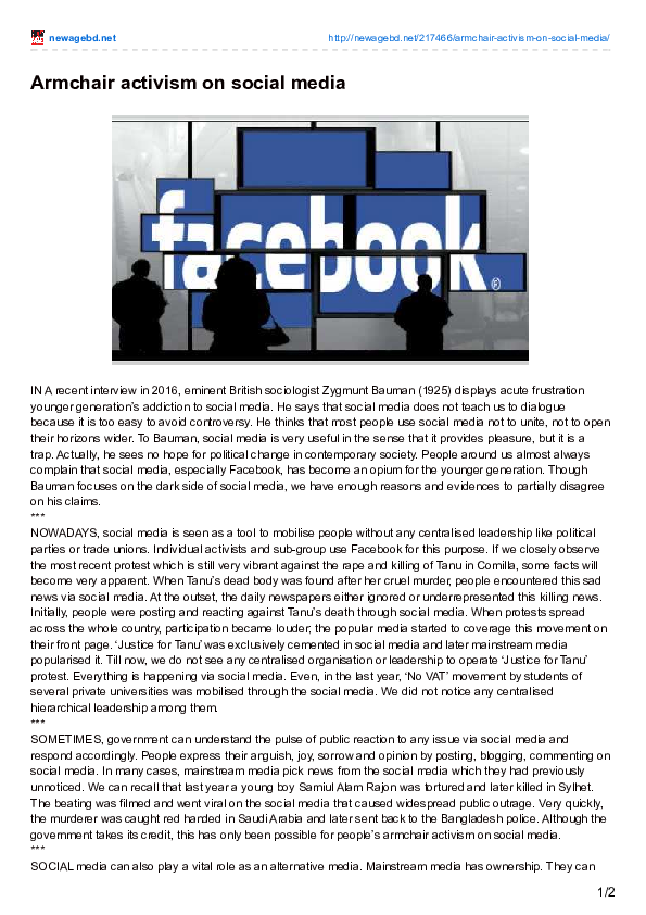 (PDF) Armchair activism on social media | Fahmid Al Zaid ...