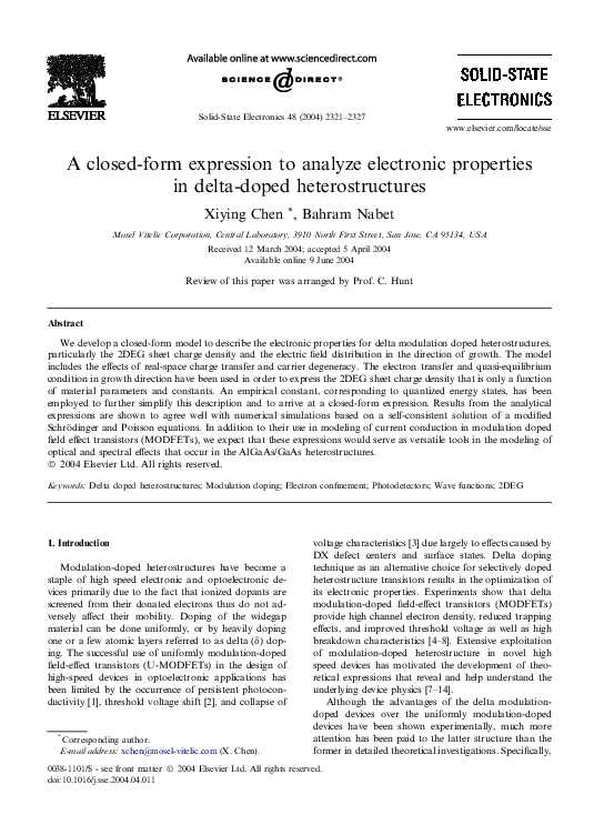 PDF) A closed-form expression to analyze electronic