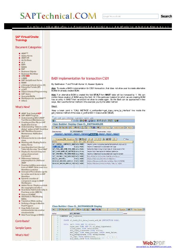PDF) BADI for Tcode CS01 Alternative BOM | Sritam Mohanty