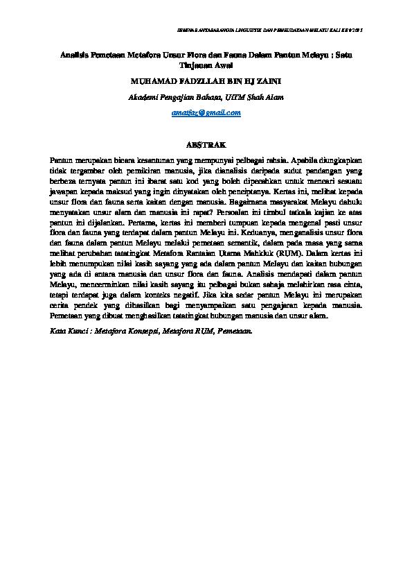 Pdf Analisis Pemetaan Metafora Unsur Flora Dan Fauna Dalam Pantun Melayu Satu Tinjauan Awal Muhamad Fadzllah Bin Hj Zaini Muhamad Fadzllah Hj Zaini Academia Edu