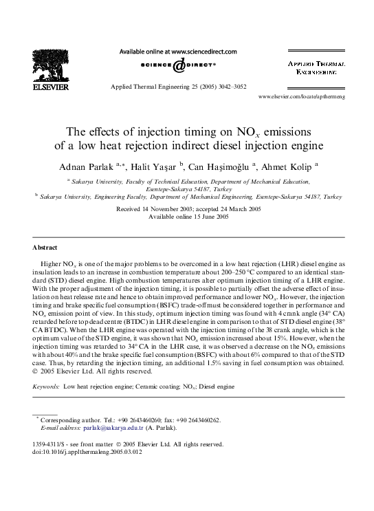 PDF) The effects of injection timing on NOx emissions of a