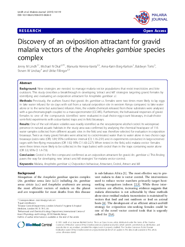 PDF) Discovery of an oviposition attractant for gravid