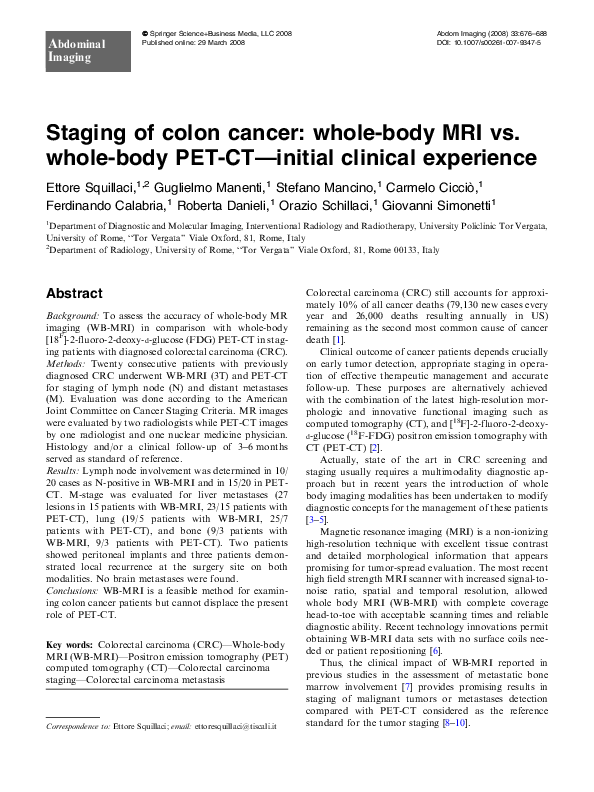 Pdf Staging Of Colon Cancer Whole Body Mri Vs Whole Body Pet Ct Initial Clinical Experience Guglielmo Manenti Academia Edu