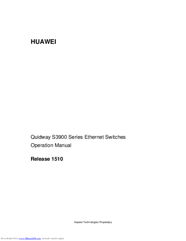 PDF) HUAWEI Quidway S3900 Series Ethernet Switches Operation Manual