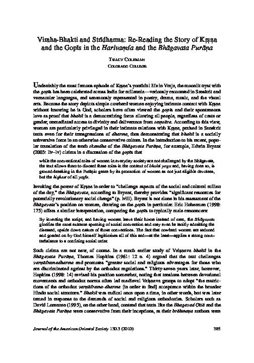 PDF) Viraha-Bhakti and Strīdharma: Re-Reading the Story of Kṛṣṇa and