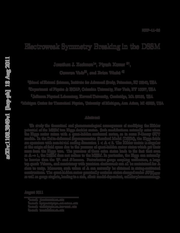 PDF) Electroweak symmetry breaking in the DSSM | Piyush
