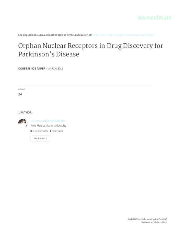 PDF) Orphan Nuclear Receptors in Drug Discovery for Parkinson's