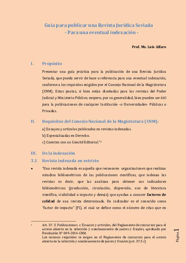Pdf Guia Para Publicar Una Revista Juridica Seriada Para Una Eventual Indexacion Luis Alfaro Academia Edu