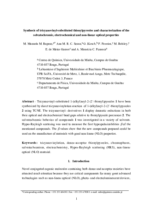 PDF) Synthesis of tricyanovinyl-substituted thienylpyrroles