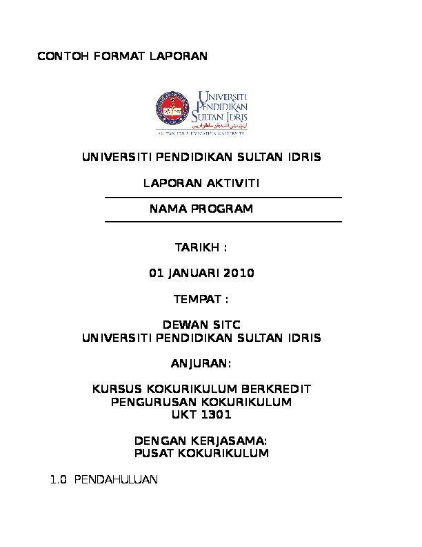 Doc Contoh Format Laporan Aktiviti Kursus Kokurikulum Berkredit Nur Nabilah Academia Edu