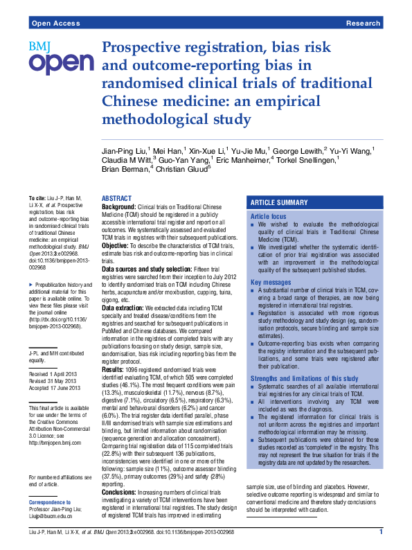 PDF) Prospective registration, bias risk and outcome