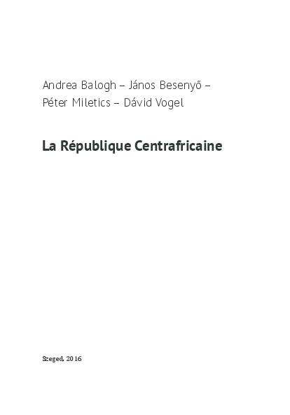 PDF La Republique Centrafricaine