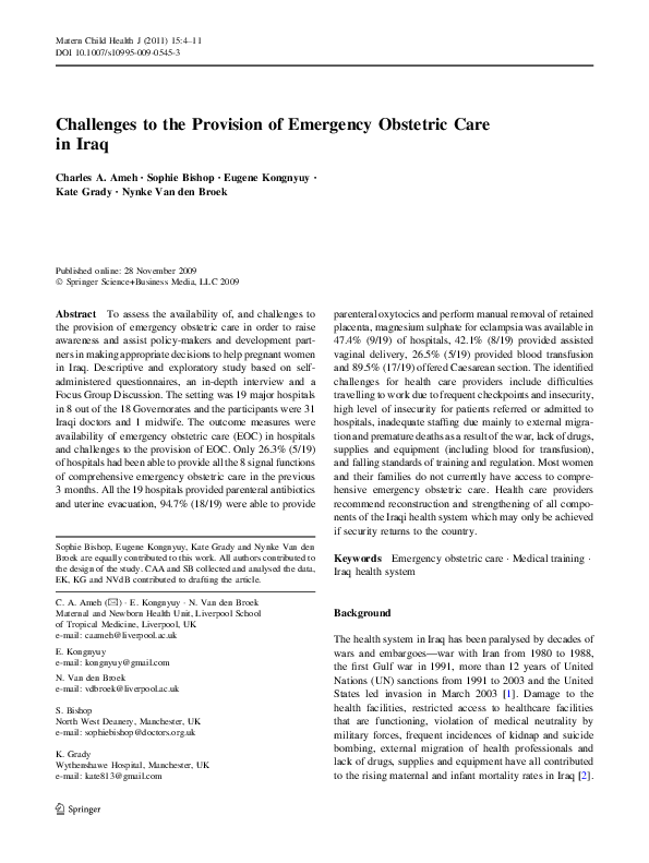 PDF) Challenges to the Provision of Emergency Obstetric Care