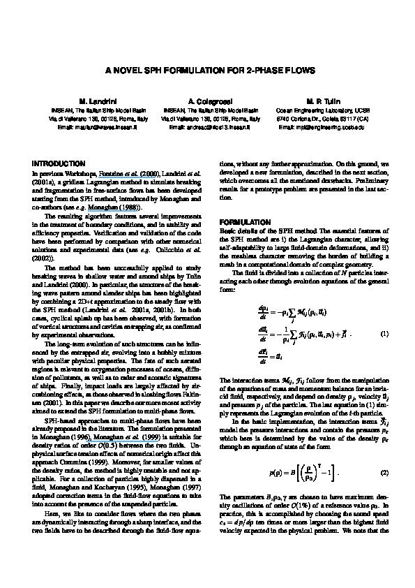 PDF) A novel SPH formulation for 2-phase flows | Andrea