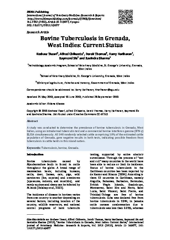 Current status of bovine tuberculosis in Latin America and the Caribbean