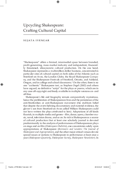 PDF) Upcycling Shakespeare: Crafting Cultural Capital