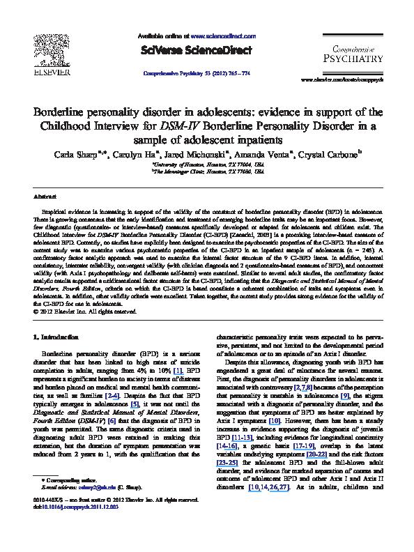 PDF) Borderline personality disorder in adolescents