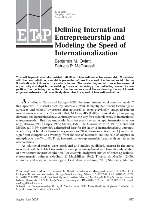 internationalization entrepreneurship and the smaller firm jones m v dimitratos p young s fletcher m