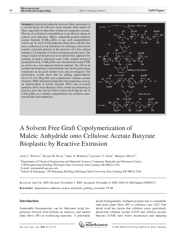PDF) A Solvent Free Graft Copolymerization of Maleic
