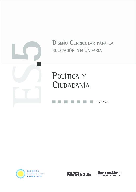 Pdf Diseño Curricular Para La Educación Secundaria Política