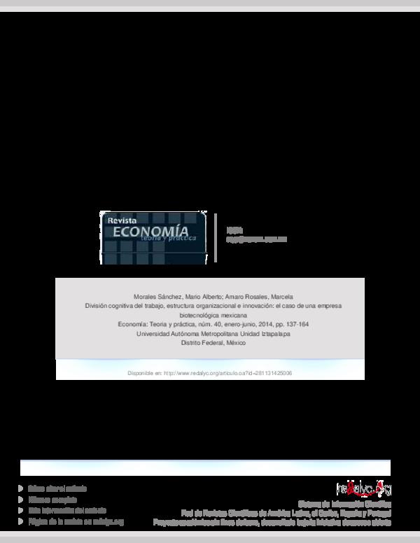 Pdf División Cognitiva Del Trabajo Estructura