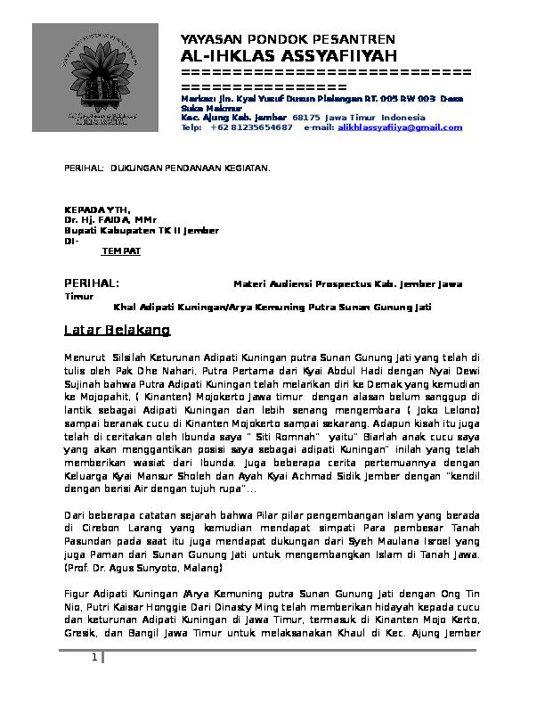 Doc Proposal Permohonan Audiensi Bupati Jember Dr Hj
