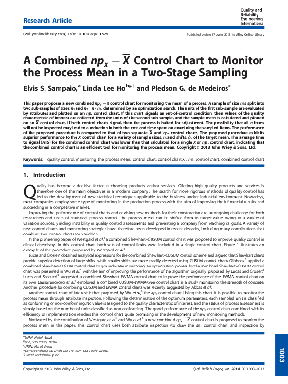 PDF) A Combined npx−X¯ Control Chart to Monitor the Process