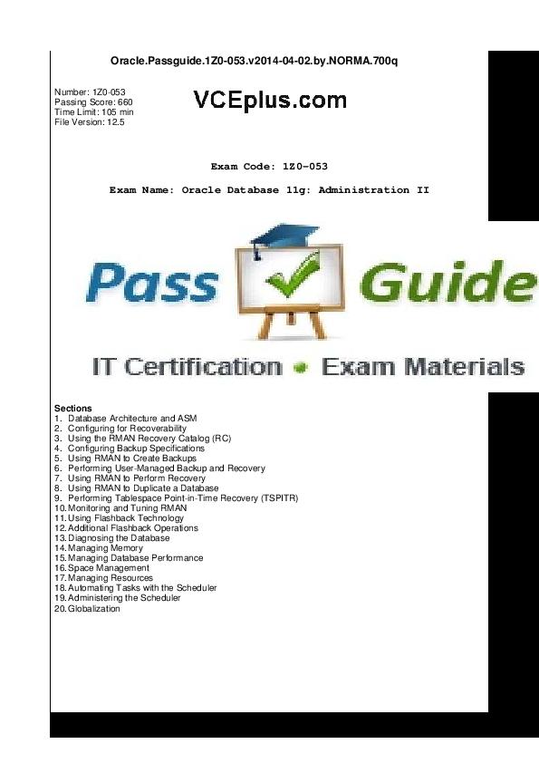 PDF) Oracle Passguide 1z0-053 dump | Amar Gupta - Academia edu