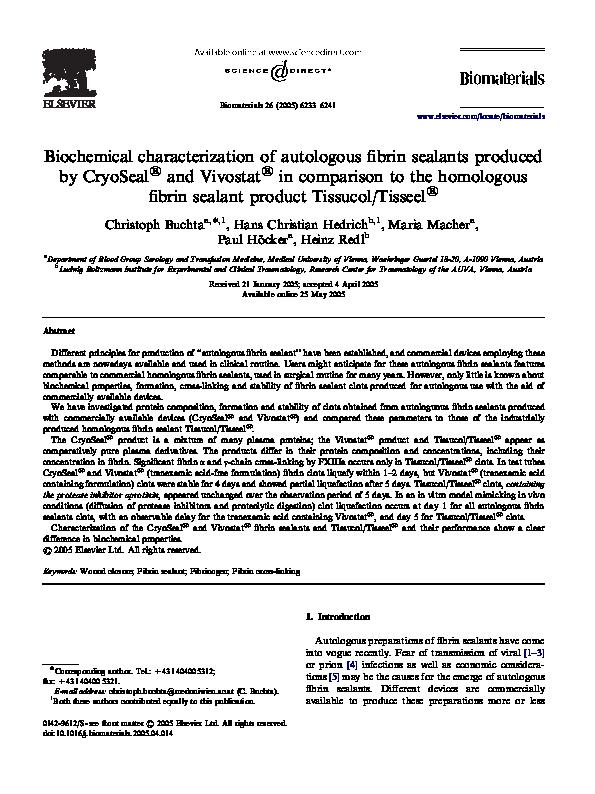PDF) Biochemical characterization of autologous fibrin
