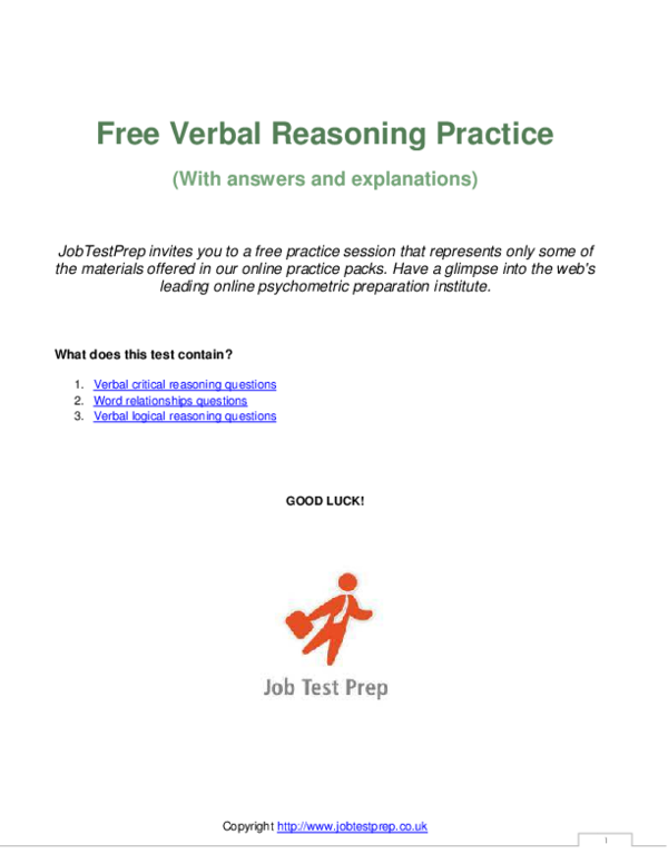 PDF) Free Verbal Reasoning Practice (With answers and