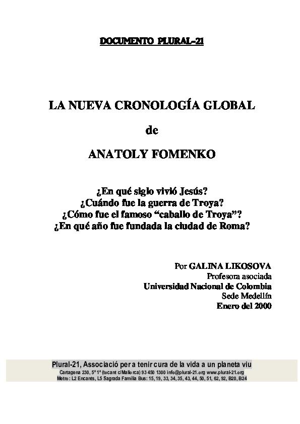 PDF) LA NUEVA CRONOLOGÍA GLOBAL de ANATOLY FOMENKO