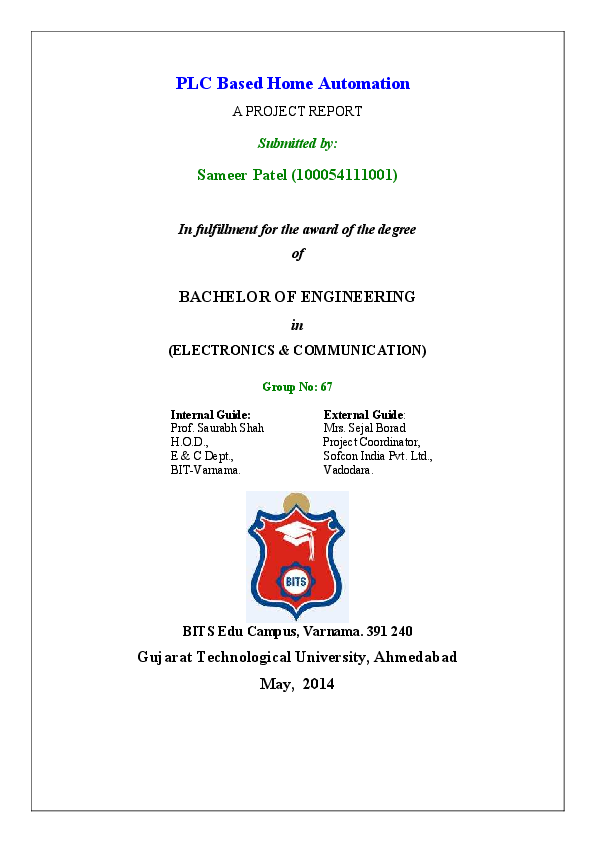PDF) PLC Based Home Automation | Sameer Patel - Academia edu