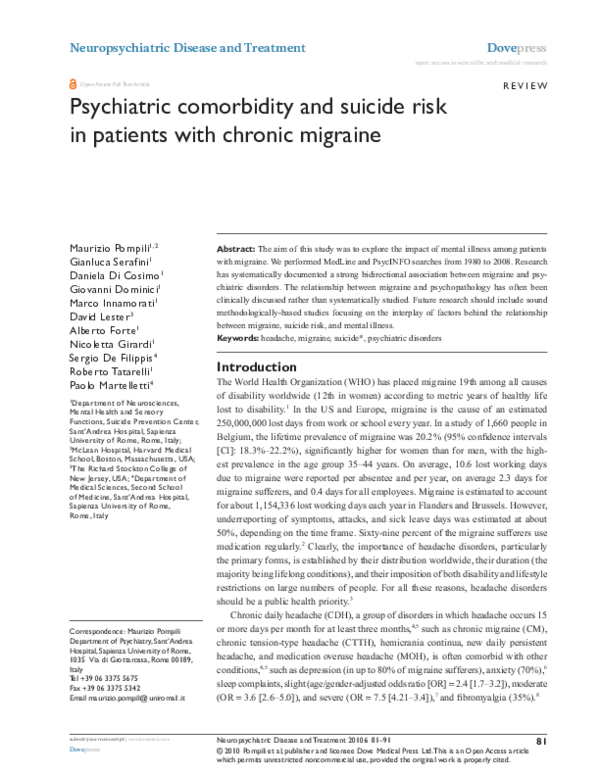 PDF) Psychiatric comorbidity and suicide risk in patients