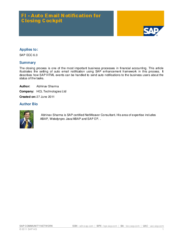 PDF) SAP COMMUNITY NETWORK FI -Auto Email Notification for