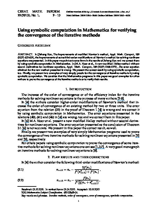PDF) Using symbolic computation in Mathematica for verifying