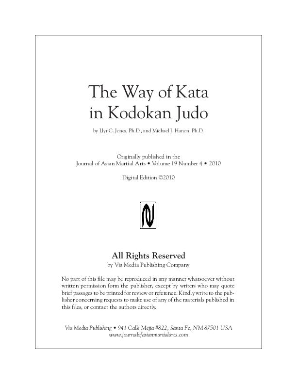 PDF) The Way of Kata in Kodokan Judo   Llyr Jones - Academia edu