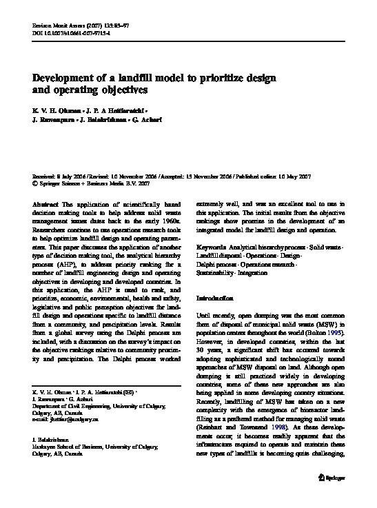 Pdf Development Of A Landfill Model To Prioritize Design And Operating Objectives Janaka Ruwanpura Academia Edu