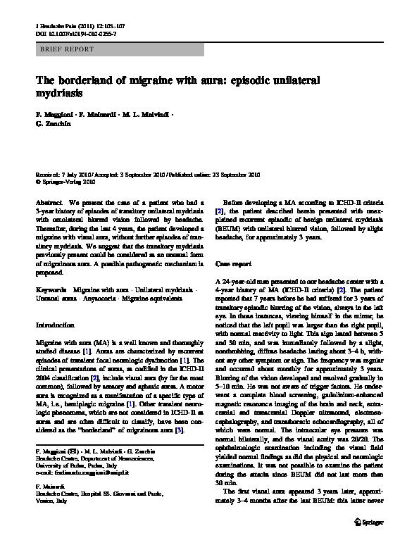 PDF) The borderland of migraine with aura: episodic unilateral