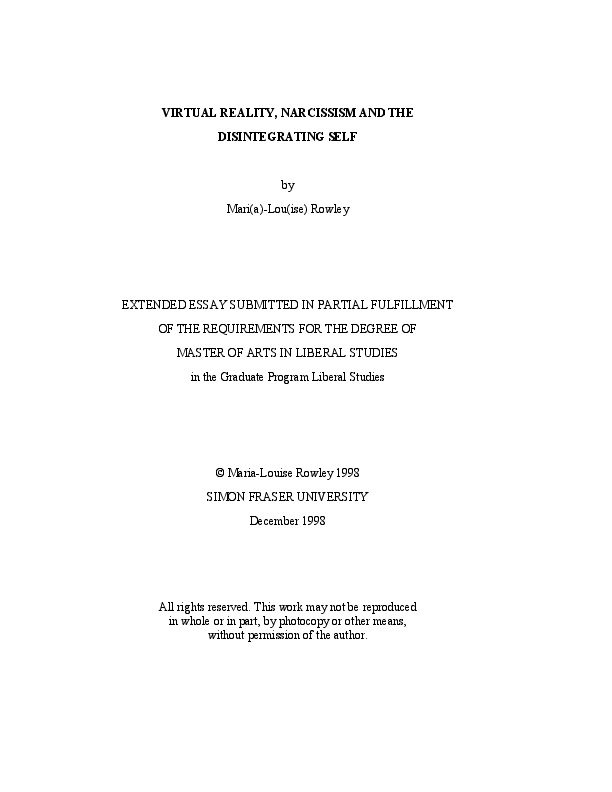 PDF) VIRTUAL REALITY, NARCISSISM AND THE DISINTEGRATING SELF | Mari