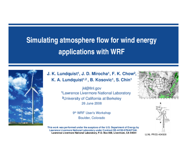 PDF) Simulating atmosphere flow for wind energy applications with