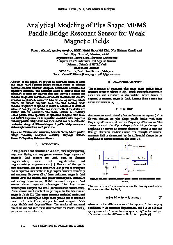 PDF) Analytical modeling of plus shape MEMS paddle bridge resonant