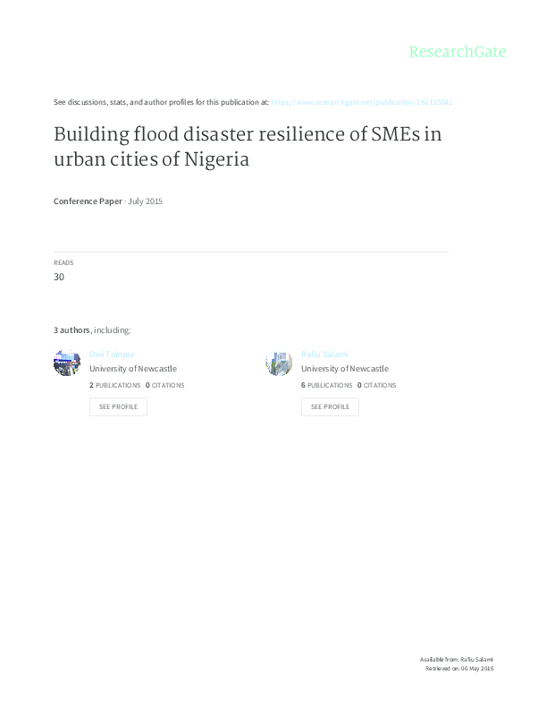 PDF) Building flood disaster resilience of SMEs in urban cities of