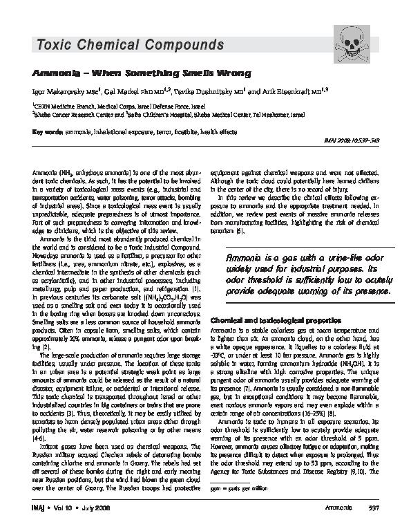 PDF) Ammonia--when something smells wrong | Arik Eisenkraft