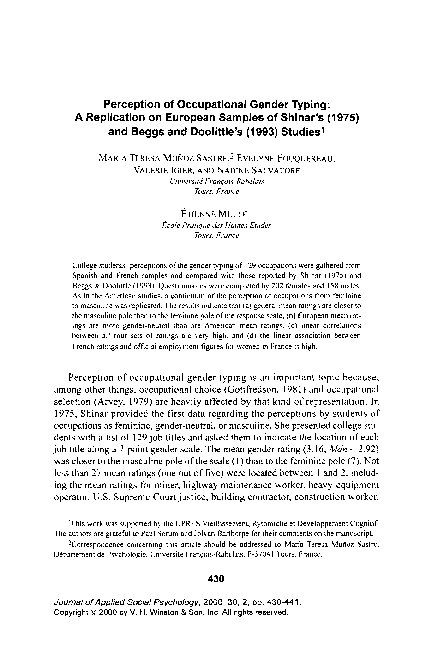 PDF) Perception of Occupational Gender Typing: A Replication