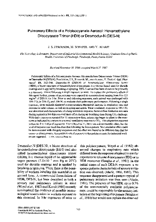 PDF) Pulmonary effects of a polyisocyanate aerosol
