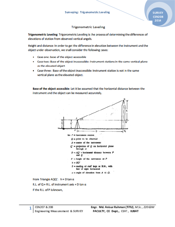 Trigonometric Levelling Pdf