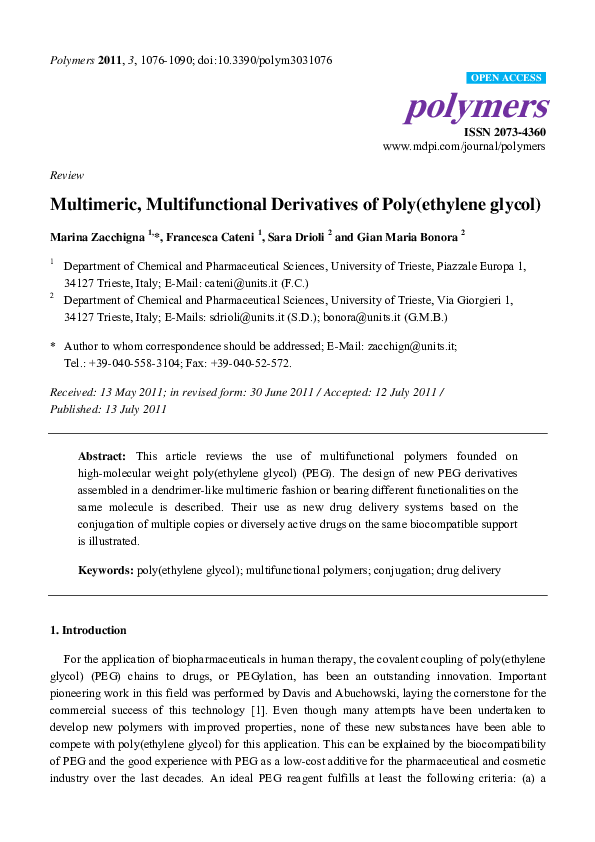 PDF) Multimeric, Multifunctional Derivatives of Poly