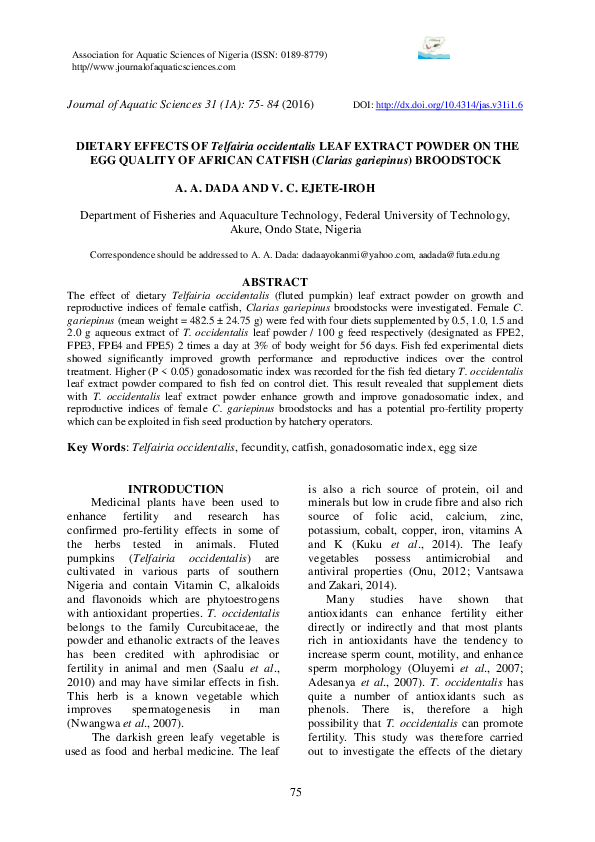 PDF) DIETARY EFFECTS OF Telfairia occidentalis LEAF EXTRACT POWDER
